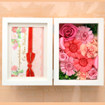 結婚祝いの花 プリザーブドフラワーフォトスタンドピンク